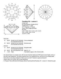 Akhavan - Faceting Lesson 2 - Simple Sun - The Gemology Project Diagram Design, Compass Rose, Rocks And Gems, Diamond Gemstone, Diamond Are A Girls Best Friend, Diamond Cuts, Topaz, Gemstones, Temple Ruins