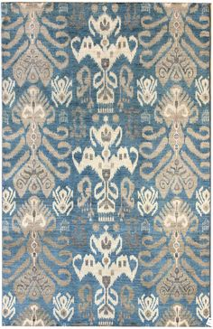 Suzani & Ikat Designs Gallery: Ikat Design Rug, Hand-knotted in Pakistan; size: 6 feet 2 inch(es) x 9 feet 3 inch(es)