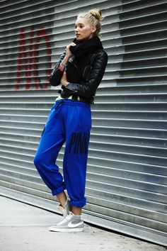 sweats with a leather bomber? Genius!!!
