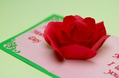 This tutorial will show you how to make the rose pop up card. This is a great craft idea to make for a Valentine's day card or Mother's day card. This rose pop up card turned out better than I had hoped. The rose petals. Flower Pop Up Card, Heart Pop Up Card, Pop Up Flowers, Paper Flowers, Heart Cards, Kirigami, Mothers Day Card Template, Pop Up Karten, Pop Up Card Templates
