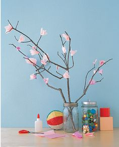 Real sticks with Tissue Blossoms :)