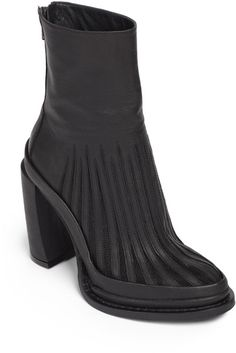 Ann Demeulemeester | Black Leather Mesh Platform Ankle Boots
