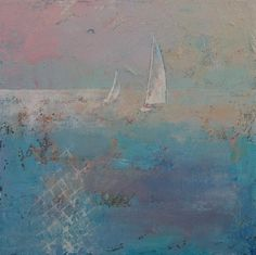 SAILBOATS 18x18 Oil Painting Ocean Sea Abstract Seascape Original Art MCreese Postimpressionism