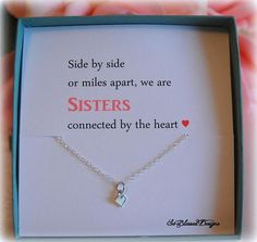 Sister Gift Tiny Heart Necklace Big For Sisters Birthday Little