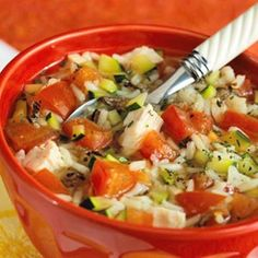 Wild Rice Chicken Soup - 6.2 oz. pack quick cooking long grain and wild rice mix - 2 - 14 oz. cans chicken broth - fresh thyme - garlic cloves - 4 cups chopped tomatoes - chicken - chopped zucchini