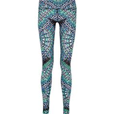 Mara Hoffman Printed stretch leggings (4,810 MXN) ❤ liked on Polyvore featuring activewear, activewear pants, blue and mara hoffman