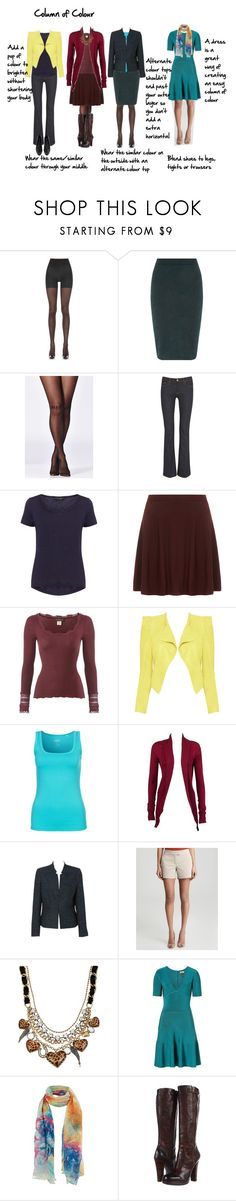 """""""column of colour"""" by imogenl ❤ liked on Polyvore featuring Ann Taylor, Dorothy Perkins, Rare London, 7 For All Mankind, Rosemunde, Alice + Olivia, Venice Beach, Regatta, Theory and Betsey Johnson"""