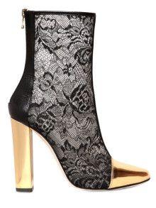 Balmain Lace, metallic leather and mesh ankle boots Lace Booties, Black Ankle Booties, Leather Ankle Boots, Black Boots, Bootie Boots, Shoe Boots, Lace Shoes, Stilettos, Balmain Boots