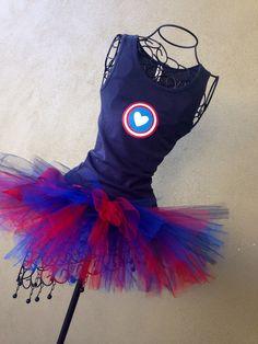Avengers Running Costume: Captain America Inspired Custom Racing Tank and Pixie Length (9 inch) Tutu