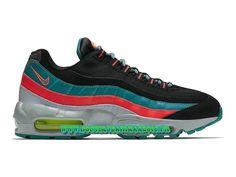 Nike Air Max 95 Essential - Chaussures de Sports Nike Pas Cher Pour Homme Noir/Gris loup/Émeraude rayonnant 749766-002