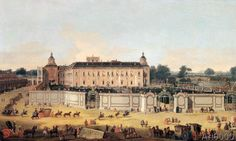 Francesco Battaglioli - Arrival of guests outside the Palace of Aranjuez on St Ferdinand day, named after king Ferdinand VI of Spain