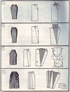 Verschiedene Rockschnitte - Different Skirt Pattern. I like number 4 Diy Clothing, Sewing Clothes, Clothing Patterns, Sewing Patterns, Shirt Patterns, Techniques Couture, Sewing Techniques, Pattern Cutting, Pattern Making