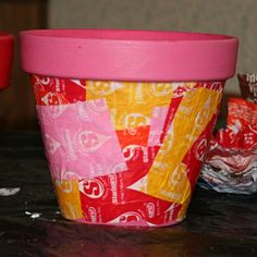 Easy Decoupage Crafts with Photographs | Decoupage Candy Wrapper Clay Pot Picture