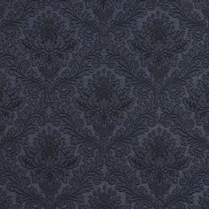 E538 Blue, Floral Jacquard Woven Upholstery Grade Fabric By The Yard
