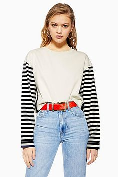 1598679dc994 PETITE Breton Spliced Long Sleeve T-shirt