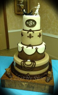This is BY FAR my favorite wedding cake Tooled leather western