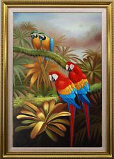"""Oil painting Animals 2 Macaw Birds on canvas 24""""x36"""" H6"""