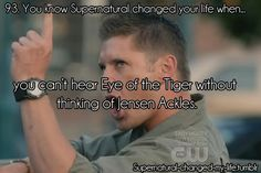 You can't hear eye of the tiger without thinking Jensen Ackles from Supernatural as Dean Winchester The Supernatural, Castiel, Supernatural Wallpaper, Supernatural Exorcism, Funny Supernatural Memes, Supernatural Bloopers, Supernatural Tattoo, Supernatural Imagines, Funny Memes
