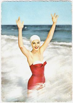 Hands up if you love vintage swimwear! Beach, 1950's.