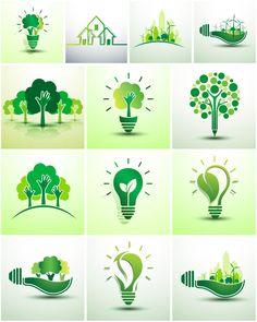 Green ecology logos #vector