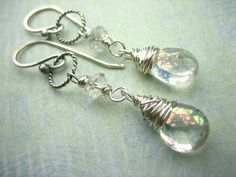 Sterling Silver  Rainbow Mystic Quart Gemstone Earrings by sofoola, $29.00