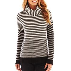 Liz Claiborne Long-Sleeve Chunky Striped Sweater - jcpenney