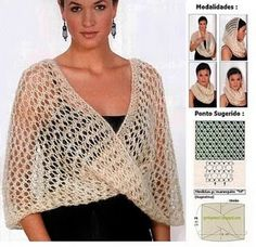 Crochet inspiration (no crochet pattern) Knitted Poncho, Knitted Shawls, Crochet Scarves, Crochet Clothes, Crochet Cape, Knit Crochet, Crochet Stitches, Crochet Patterns, Mode Crochet