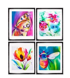 Set of 4 Art Prints of Abstract Floral Watercolor Paintings Butterfly Bee Flowers Bright Colors Springtime Home Decor. Just a little reminder: Airmail from England to the USA usually only takes one to three weeks to arrive - not the four to six weeks Amazon states as delivery time. Set of 4 Art Prints of original watercolor paintings from my Flora and Fauna series. Set of 4 Illustrations: Butterfly, Bee, 2 Flowers Direct from my studio, in Suffolk, England, signed & dated. Carefully…
