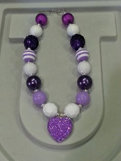 Kid's Neon Purple Heart Chunky Necklace by MinniesBootique on Etsy, $25.00