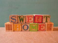 Blocks/Sweet Home/Signs/Wooden by OldSteamerTrunkJunk on Etsy