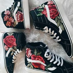 70e72845c13 Custom Rose Floral Embroidered Vans Sk8-HI I got a lot of great feedback  after