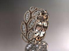 14kt rose gold  leaf  wedding ringengagement by anjaysdesigns, $1599.00