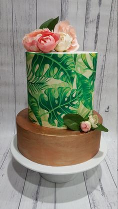 theme cakes at heb Pretty Cakes, Beautiful Cakes, Amazing Cakes, Edible Printing, Tall Cakes, Painted Cakes, Tropical Party, Edible Cake, Tropical Leaves