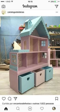 Cute idea for girls dollhouse with storage underneath! Cute idea for girls dollhouse with storage underneath! Girls Dollhouse, Diy Dollhouse, Barbie Furniture, Kids Furniture, Outdoor Furniture, Doll House Plans, Toy Rooms, Kids Wood, Little Girl Rooms
