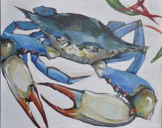 Blue Crab Painting beach-style-originals-and-limited-editions