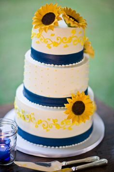 Sunflower Wedding Cake, dark blue and yellow look nice together too, instead of a sky/powder blue