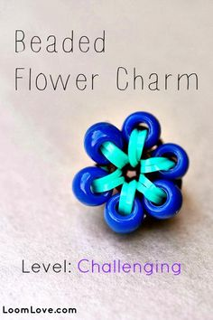 ~ Beaded Flower Rainbow Loom Charm ~ #rainbowloom