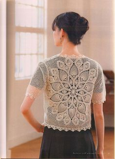 ISSUU - Crochet with pineapple pattern by vlinderieke Crochet Beach Dress, Crochet Jacket, Crochet Cardigan, Knit Crochet, Lace Cardigan, Crochet Tops, Pinterest Crochet, Japanese Crochet, Pineapple Crochet