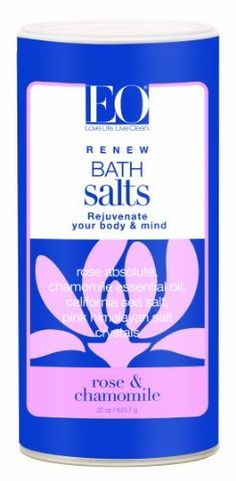 EO Bath Salts Rose and Chamomile, 22-Ounce by EO. $11.99. California Sun Dried Sea Salts rich in calcium, potassium and magnesium add valuable trace mineral to the bath, softening the water naturally and gently cleanse the skin.. Rose Absolute & Chamomile Essential Oil calms the body while restoring and rejuvenating the skin. Himalayan Pink Salt, an exotic fossilized marine salt formed more than 250 million years ago contains 84 rich elements and minerals including calcium, ...
