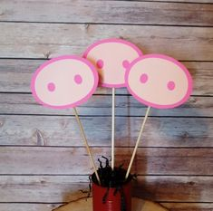 Pig Nose Centerpiece Toppers Set of Three Each nose measures Made of cardstock and bamboo sticks Cute for a pig theme, barnyard or farm party! Custom orders are available for this item! Coordinating cupcake toppers are available for this item! Kids Party Centerpieces, Birthday Party Decorations, Pig Party, Farm Party, Peppa Pig Balloons, Farm Birthday, Birthday Ideas, Pig Wallpaper, Balloon Crafts