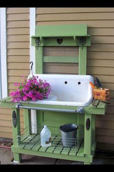 Garden sink with screen door behind.