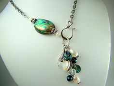 Abalone Shell and Pearl Necklace... shell, mother of pearl, pearls, lariat necklace
