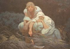 The Slav Epic, Veletrzni Palac, Praha. Detail The Slavs in Their Original Homeland. Adam and Eve, of the Slavs. Alfons Mucha 1912.