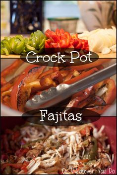 EASY CrockPot Chicken Fajitas Ingredients 1 onion 1 green pepper 1 red pepper 5-6 chicken breasts, frozen liberal amounts of: garlic powder onion powder salt pepper cumin chili powder oregano 1-2 cups salsa