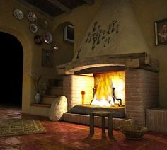 Rustic Fireplaces, House Styles, Rustic House, Inglenook, Gate House, Southwestern Decorating, Home Decor, Fireplace, Tuscan House