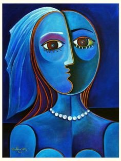 BRIDE IN BLUE Cubist Modern Painting Marlina Vera La Novia de azul