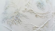 detail of «Wisteria» from the Japanese Art Series - June 2016   domitilla biondi paper carving   paper-poetry.com _______ #papercarving #papercut #paperwork #paperpoetry #minimal #basrelief #miniature #white #shadowart #italianartist #japaneseart #harmonia #beauty #spirituality #paperporn #color #light #floral