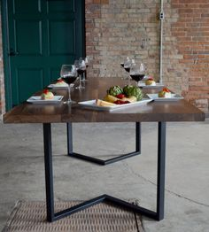 """Irvine Dining Table - Shown in 96x40 Textured Black Frame / Solid 1 3/4"""" Walnut Table Top - ***Includes Delivery***"""
