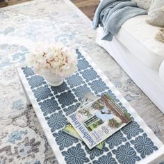 How To Tile A Table Top. Use this simple trick to tile all the things.furniture, decor and more! Diy Decoupage Table Top, Decoupage Ideas, Diy Tile Backsplash, Vinyl Wood Planks, Furniture Decor, Redoing Furniture, Furniture Projects, Side Table Makeover, Tuscan Decorating