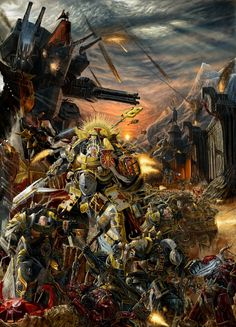 Warhammer 40k: Space Marine legion assaulting a Chaos Space Marine stronghold
